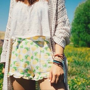 Bethany Mota White Cotton Pineapple Shorts